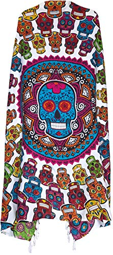 Sarong Wrap From Bali Your Choice of Design Beach Cover Up (Day of the Dead White/Colors)