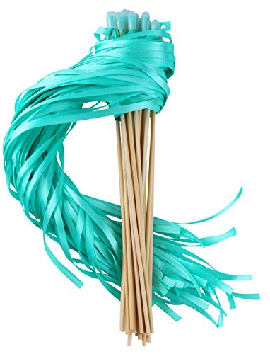 Wishprom Ribbon Wands Sticks Streamers for Wedding Party Favor (Green-30PCS) ()