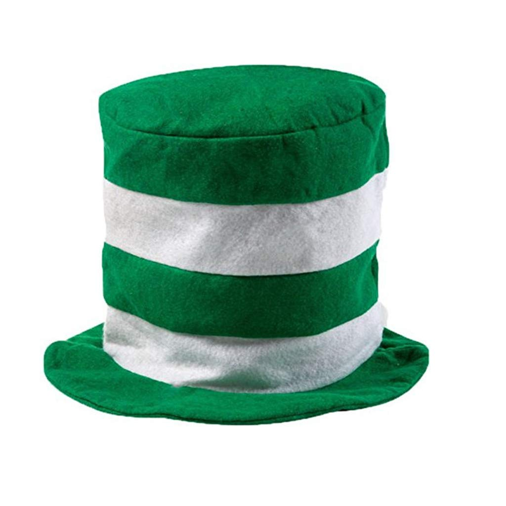 Freeby Oversized Green and White Stripe St. Patrick's Day Velvet Green Leprechaun Top Hat