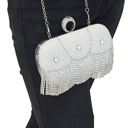 Wedding Evening Pearl Chain Silver Bag Evening Amidi Clutch Bag Party With Bag Detachable qxTAtOPw0A