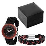 STEELTIME Men's Stainless Steel Red and Black Watch with Matching Braided Leather Bracelet Gift Set