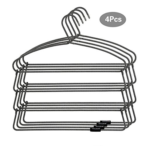 Hangers - Heavy Duty Pant Hangers - Non Slip Space Saving Trouser Hanger Wire Stainless Steel Flocked Hangers for Men Women and Kids Clothes - 4 Tier Laundry Closet Hanger (4 Pack)