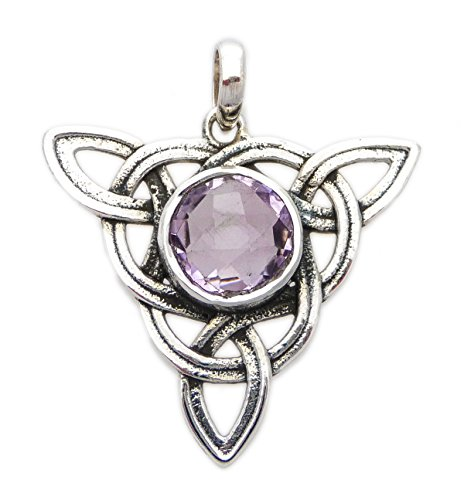 Celtic Trinity Knot Large (Triquetra) Pendant Healing Stone Sterling Silver (Amethyst)