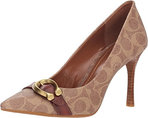 Coach Women's Waverly 85mm Pump with Signature Buckle Tan/Rust Signature Coated Canvas 8.5 M US