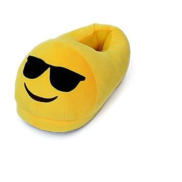 Pantuflas con diseño de emoticono durmiendo, unisex, para adultos, para invierno, de felpa