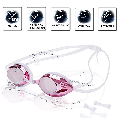 Waterproof Race - ROTERDON Swimming Goggles, Professional Race Swim Goggles with Anti Fog Coating Uv Protection Waterproof for Adults Kids Women Man (Pink)
