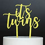 Betalala Gold ''It's twins''Cake Topper Baby Shower Birthday Party Decoration.
