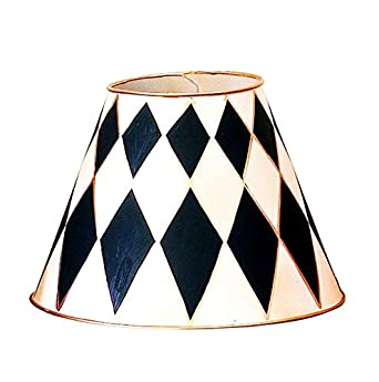 harlequin check diamond mini lamp shade set pair chandelier cottage chic shabby romantic