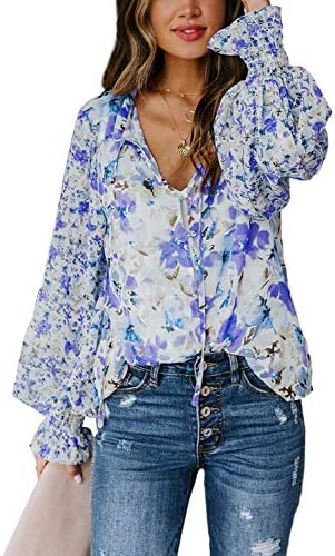 Biucly Women's Casual Boho Floral Print V Neck Long Sleeve Stylish Drawstring Tops Loose Blouses Shirts