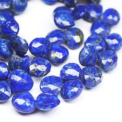 Beads Bazar Natural Beautiful jewellery Natural Lapis Lazuli Faceted Briolette Heart Drop Gemstone Loose Craft Beads Strand 9