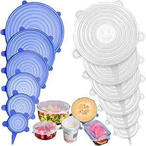 Stone TH Tapas de Silicona Elásticas, 12 Tapas Silicona Ajustables Cocina, Reutilizable Fundas para Alimentos Tapa Tazas… 51cVUm2Yn 2BL