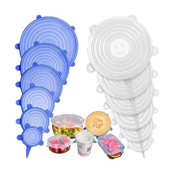 Stone TH Tapas de Silicona Elásticas, 12 Tapas Silicona Ajustables Cocina, Reutilizable Fundas para Alimentos Tapa Tazas, Boles o Tarros, Lavavajillas, Refrigerador 51cVUm2Yn 2BL
