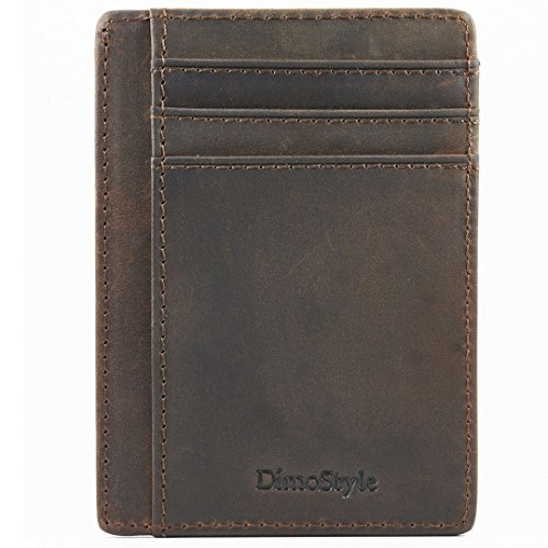 Dimostyle Men Wallet Slim - RFID Credit Card Holder (Dark Brown) ()
