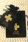 "Lings moment 10pcs 5""x7"" Gold Glitter Cross I REGRET NOTHING Hangover Kit Bags Wedding Cotton Muslin Favor Bag Bridal Shower Bachelorette Party and Avoid Hangover Favor Bag"