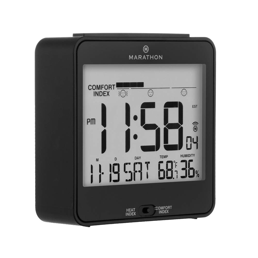MARATHON CL030054BK Atomic Humidex Clock with Calendar, Temperature, Heat & Comfort Index - Backlight, Snooze and Loud Alarm. Batteries Included. Black Black, Blue and White by Marathon