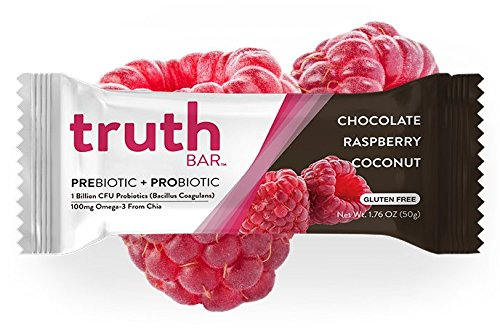 Truth Bar (Prebiotic + Probiotic) Chocolate Raspberry Coconut (12 Bars) Gluten Free, Low Sugar, Vegan,High fiber, Kosher, Soy Free, Non-GMO Nutrition Snack Bar with Premium Dark Chocolate