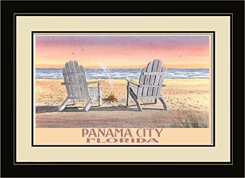 Northwest Art Mall BA-5629 FGDM ACB Panama City Florida Adirondack Chairs Beach Framed Wall Art by Artist Dave Bartholet, 16 x - Beach Mall City Panama