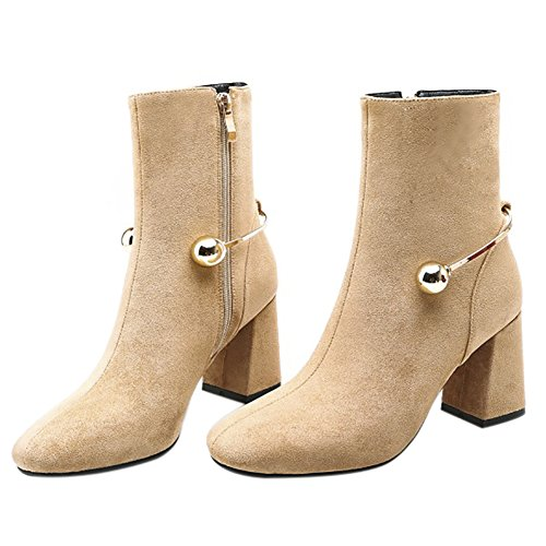 Heels Martin Women With QZUnique Shoes Zipper U Toes Leather Shoes Buckle Pointed Genuine apricot High Stylish Thick qtRRxHz