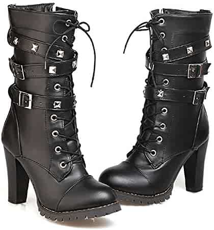 c1a1936f467 Ifantasy Fashion Women s Lace up Ankle Booties Punk Rock Rivet Chunky Heel  Leather Military Combat Boots
