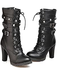 Fashion Womens Lace up Ankle Booties Punk Rock Rivet Chunky Heel Leather Military Combat Boots