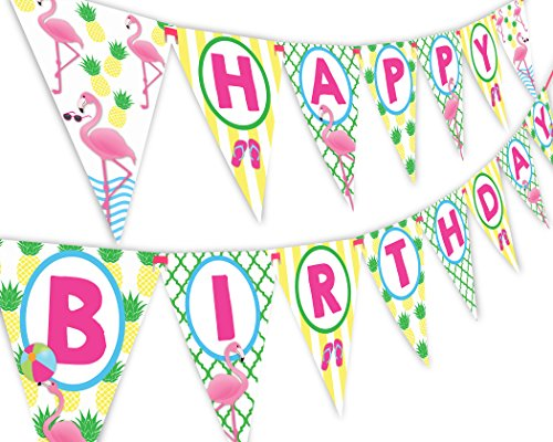 Flamingo Pineapple Happy Birthday Banner Pennant - Flamingle Party Banner -