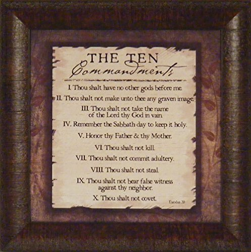 Ten Commandments Plaque (The Ten Commandments by Jennifer Pugh 15x15 Bible 10 Religious Framed Art Print Wall Décor Picture)
