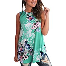 Itsmode Women's Casual Summer Loose Floral Print Tank Tops S-XXL