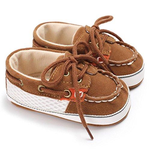 Igemy 1Paar Baby Mädchen Jungen Frenulum Mode Schuhe Sneaker Anti-Rutsch Soft Sole Kleinkind Kaffee