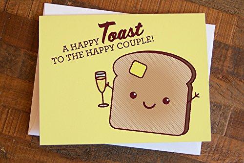 """Cute Wedding Card """"Happy Toast"""""""