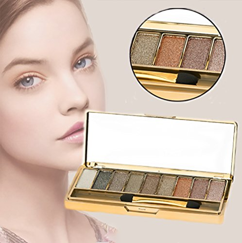 Sparkle Eyeshadow Palette&9 Colors Shimmer Makeup Palette & Makeup Cosmetic Brush Set &Gold Glitter Eyeshadow Palette Highly Shining Pigmented Diamond Eyeshadow&9 Color Eyeshadow 6# (1pc) by vinmax (Image #6)