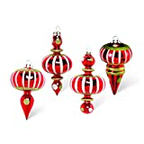 K&K Interiors Red Whimsical Striped Dots Final Christmas Ornaments (Set 4)