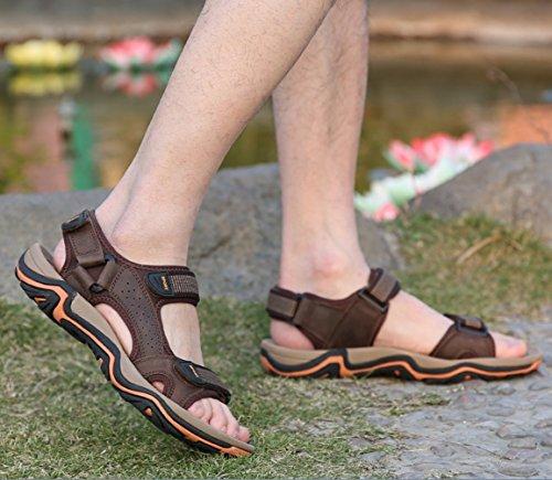Plein Respirant Et Mode De LIANGXIE Hommes Cuir pour De D'été SandalsZHANGM Respirant Conduite Sandales Cool Randonnée De brown en Occasionnels Marche en Dark Air Chaussures Sandales Xqwqa607