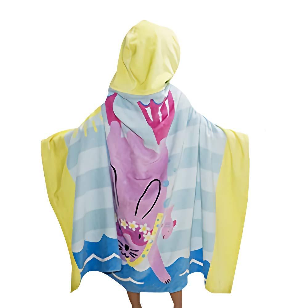 Kids Towel Hood, Boys Girls Absorbent Cotton Bathrobe Blanket, Beach Bath Swimming Towel Kids Towel with Hood