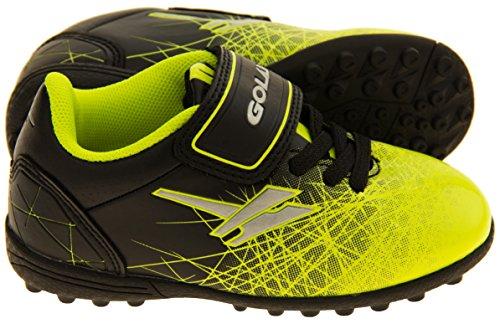 Footwear Studio - Botas de fútbol para niño negro negro Negro, Neón Amarillo y Plata