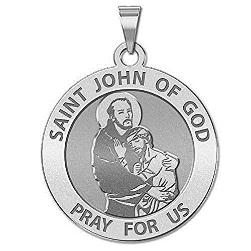 (PicturesOnGold.com Saint John of GOD Religious Medal - 3/4 Inch Size of a Nickel -Sterling)