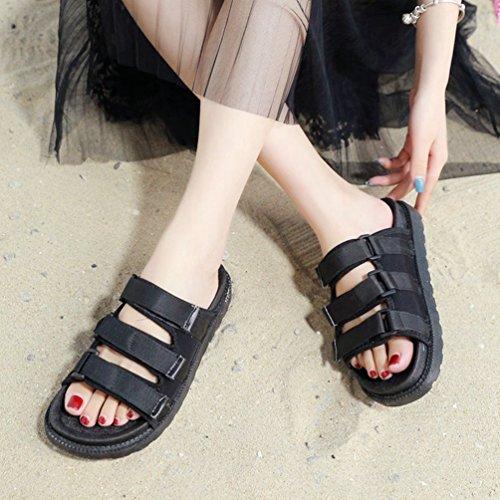 Appartements Forme Fond Glissière Femmes d'été Velcro pour Slip Noir Les Plate à Ouvert épais Sandales JITIAN Les sur Bout Eqwx0TAvq