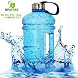 Vaupan Half Gallon Big Water Bottle, 2.2L/73OZ Large Leak Proof Sports Jug with Handle, Huge BPA Free PETG Plastic Wide Mouth Drinking Container Flask for Fitness Gym Biking Outdoor Travel (Blue)