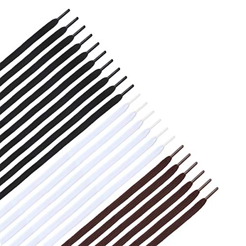 WINOMO 11 Pairs Flat Shoelaces Shoe Strings for Sneakers - Black White Brown