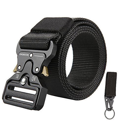 - KingMoore Men's Tactical Belt Heavy Duty Webbing Belt Adjustable Military Style Nylon Belts with Metal Buckle