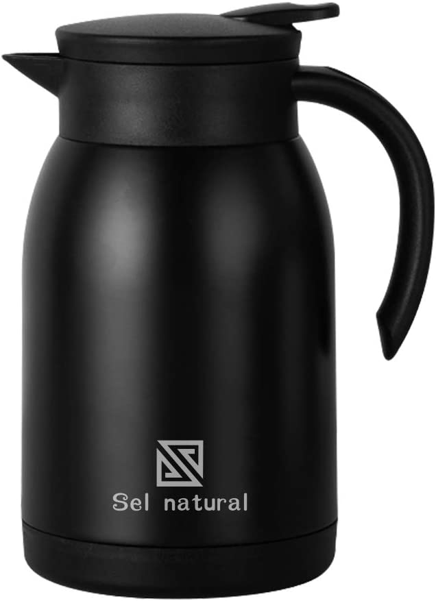 900 ml Stainless Steel Thermal Coffee Carafe - 30 Oz Double Walled Vacuum Flask, BPA-Free Vacuum Hot Cold Beverage Thermos (Fashion black)