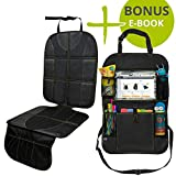 """VolkGo Car Seat Protector and Organizer Set - Kick Mat - Multi Pocket Organizer - 10"""" Android or iPad Tablet Pouch - Easy to Install & Clean - Strong & Resilient - Non Slip Back"""