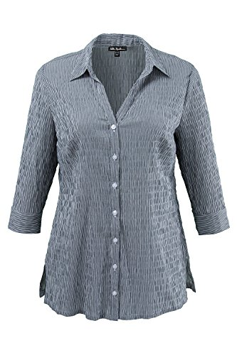 Ulla Popken Women's Plus Size Button up Textured Blouse Black Stripe 24/26 697563 10 Crinkle Cotton Big Shirt