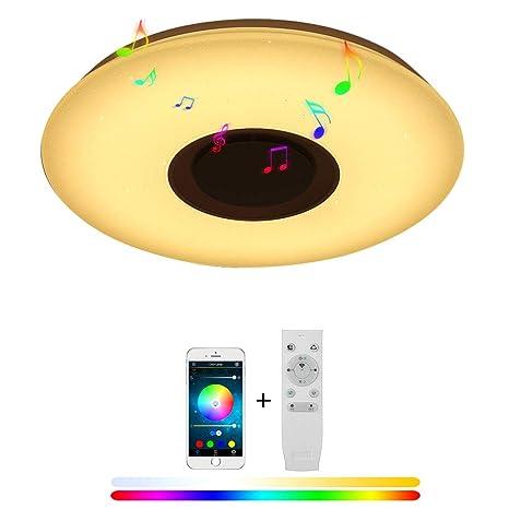 36W Punto De Estrella Redonda LED Lámparas De Techo Música Bluetooth Altavoz Con Smartphone App Control, Cambio De Color RGB, Montaje Rasante Para ...