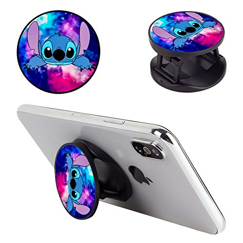 DISNEY COLLECTION Multifunction Stitch and Starry Sky are Dating Cell Phone Stand Holder and Grip Foldable Expanding Kickstand Phone Mount Compatible All Tablets and Smartphones