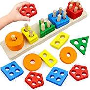 Montessori Toys for 1 2 3 Year Old Boys Girls Toddlers, Wooden Sorting & Stacking Toys for Toddlers and Ki