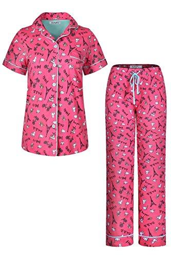 SofiePJ Women's Printed Cotton Short Sleeve Notch Collar Button-Down Pajama Shirt & Long Pants Set Hot Pink L (Shirt Pajamas Pants)