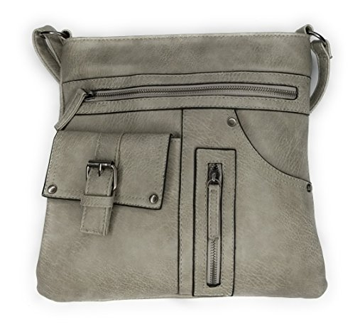 Side Zippered Grey Faux Long Multi Purse Leather Strap Crossbody Pocket Bag Messenger Trendy HIqwO0q