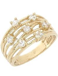 14k Yellow Gold White CZ Seven Stone Split Band Ladies Everyday Ring