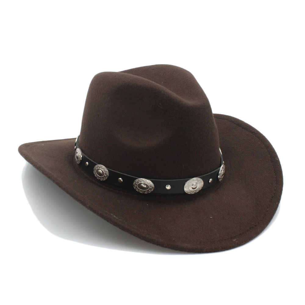 Hu Good Hat Vintage Womem Men Western Cowboy Hat With Wide Brim Punk Belt Cowgirl Jazz Cap With Leather Toca Sombrero Cap 23