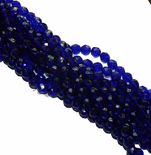 Firepolish Faceted Czech Glass Round Beads 4mm Cobalt Blue 196 ()